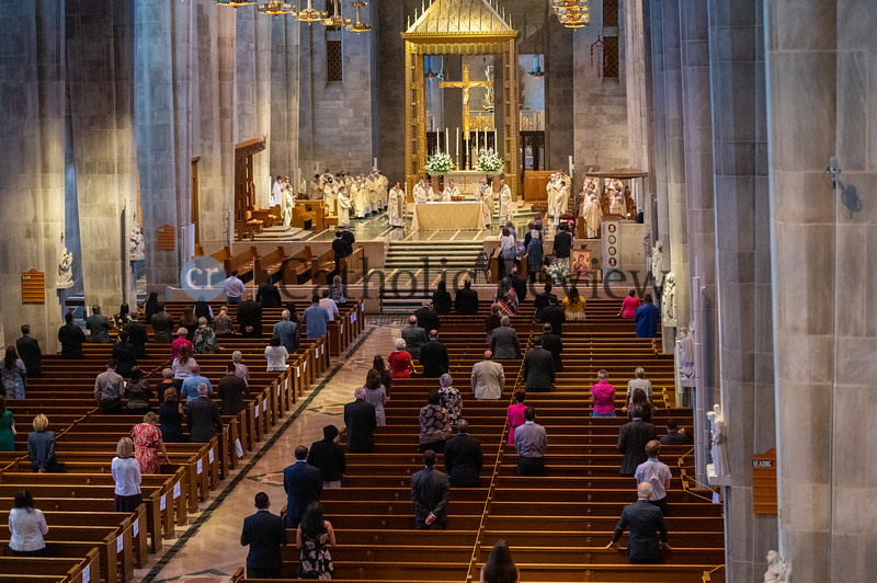 A social distance gathering attend the Aug. 18 episcopal ordination of Bishop Bruce A. Lewandowski, C.Ss.R.,atthe Cathedral of Mary Our Queen in Homeland. (Kevin J. Parks/CR Staff)