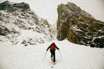 Entering Pinner Couloir (oil painting)