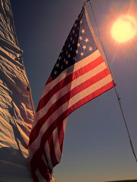 Flag from backstay of boat on a sunny Memorial Day 2012