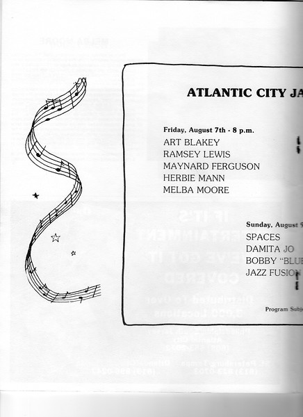 Memorabilia from the 3rd Atlantic City Jazz Festival  - July 1981
