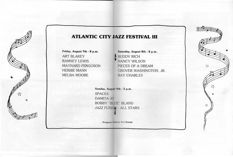 Memorabilia from the 3rd Atlantic City Jazz Festival  - July 1981