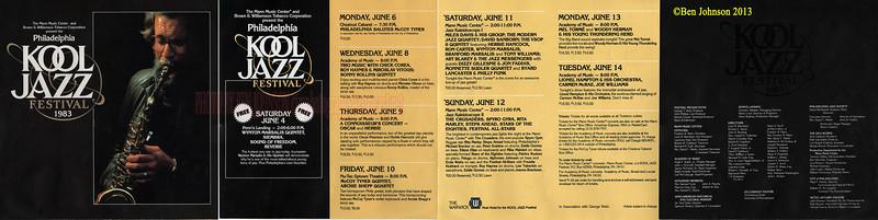 Playbill From The 1983 Kool Jazz Festival Philadelphia