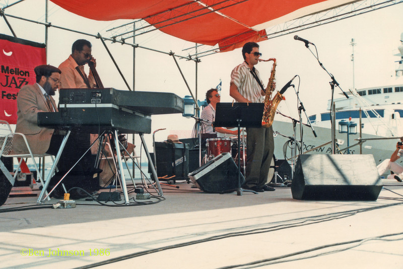 Bill Meek,Tyrone Brown and performing at The Mellon Jazz Festival Penns Landing in Philadelphia 1986