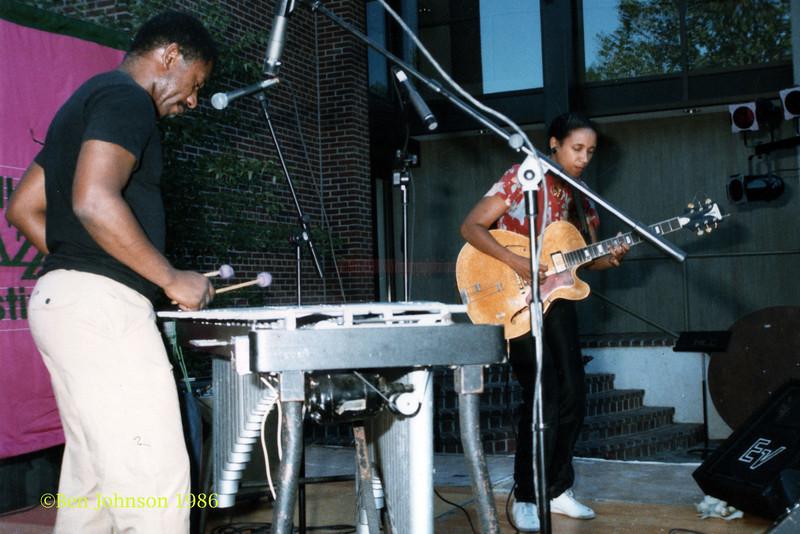 Khan Jamal and Monnette Sudler performing at The Mellon Jazz Festival in Brandywine Pennsylvania in August 1986.