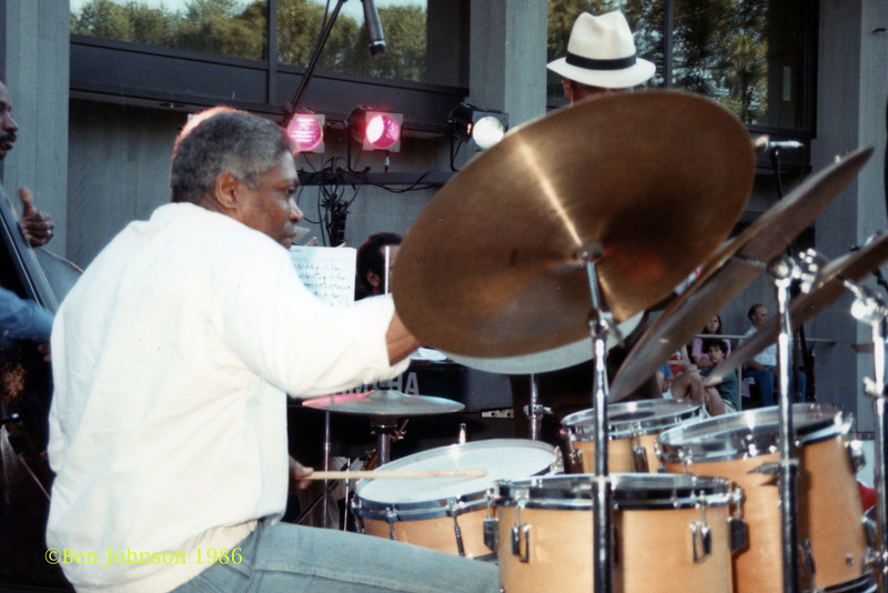 Billy Hart performing at The Mellon Jazz Festival in Brandywine Pennsylvania in August 1986.