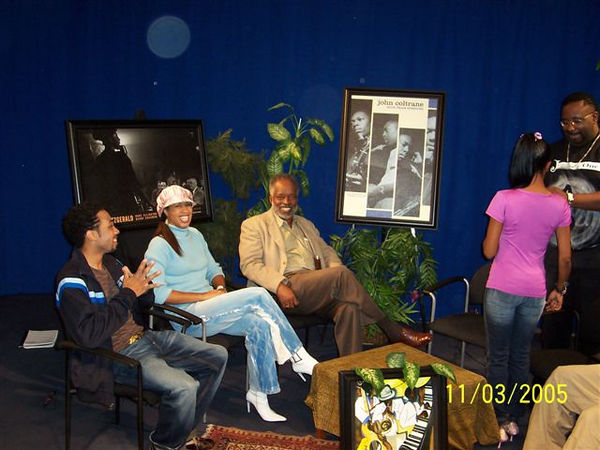 "Harold Hambrick, Expo President (right) and Myra Wallace, center, prepare to be interviewed by Roscoe Lee Owens, at the Channel 56 Studio, Jazz Zone TV Show.  Hutch (left) is the director of the TV Show.  It airs Saturday at 1 AM and 1 PM on Channel 56.  To view it online, visit  <a href=""http://www.pasadena56.tv"">http://www.pasadena56.tv</a>."