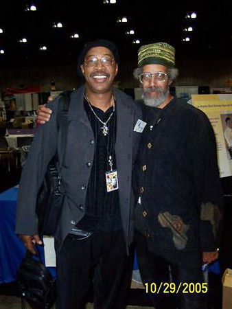 Roscoe Lee Ownes, curator of the Pan African Art Mart with Akile, of the Kwanzaa Parade.