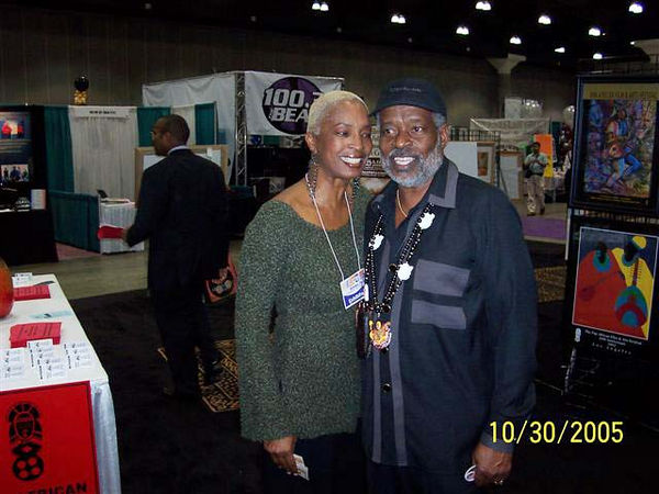 Sandra McDaniels, hostess of the Jazz Zone Exhibit at the Expo, with Expo presiden, Harold Hambrick.