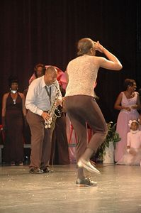 Willie Wactor playing the Sax. StepVille Steppers featuring Delta Sigma Theta Sorority Inc.