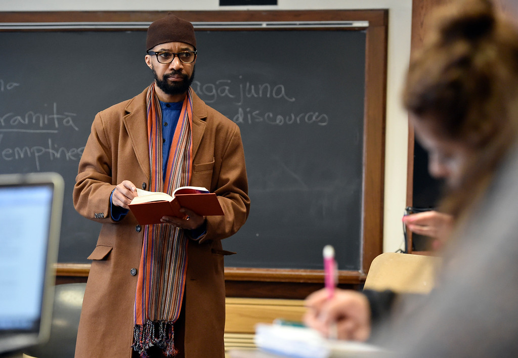 . BOULDER, CO - MARCH 12, 2019: University of Colorado professor Reiland Rabaka talks about race with his class during a Black Lives Matter class on Wednesday on the CU Campus in Boulder. For more photos of the class go to dailycamera.com (Photo by Jeremy Papasso/Staff Photographer)