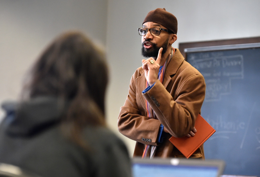. BOULDER, CO - MARCH 12, 2019: University of Colorado professor Reiland Rabaka talks about race issues with his class during a Black Lives Matter class on Wednesday on the CU Campus in Boulder. For more photos of the class go to dailycamera.com (Photo by Jeremy Papasso/Staff Photographer)