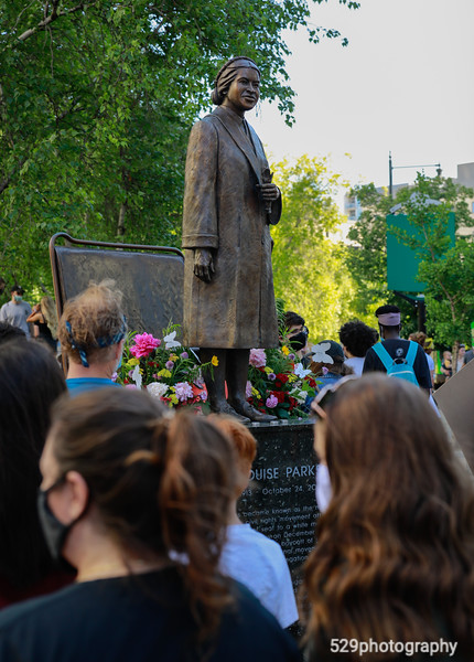 Literally and figuratively, Rosa Parks stands over the protest.