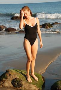 Pretty Redhead One Piece Swimsuit Model