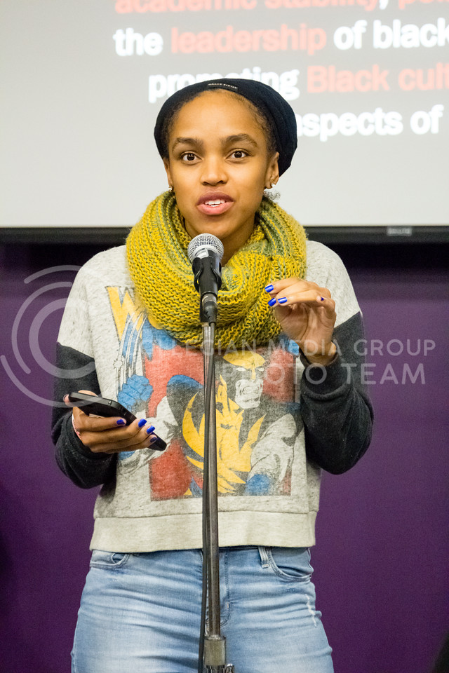 Daijah Porchia speaks during the Black Student Union's Emergency meeting to discuss how we can combat incidents of racism on campus. At the Bluemont Room of the Union on Nov. 1st, 2017. (Alex Shaw | Collegian Media Group)