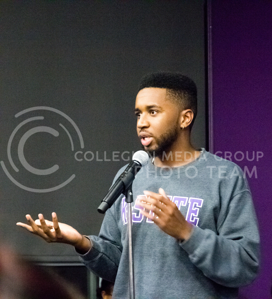 Tarrance Floyd II speaks during the Black Student Union's Emergency meeting to discuss how we can combat incidents of racism on campus. At the Bluemont Room of the Union on Nov. 1st, 2017. (Alex Shaw | Collegian Media Group)
