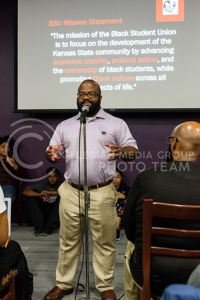 Bryan Williams former advisor of the Black Studdent Union speaks during the Black Student Union's Emergency meeting to discuss how we can combat incidents of racism on campus. At the Bluemont Room of the Union on Nov. 1st, 2017. (Alex Shaw | Collegian Media Group)