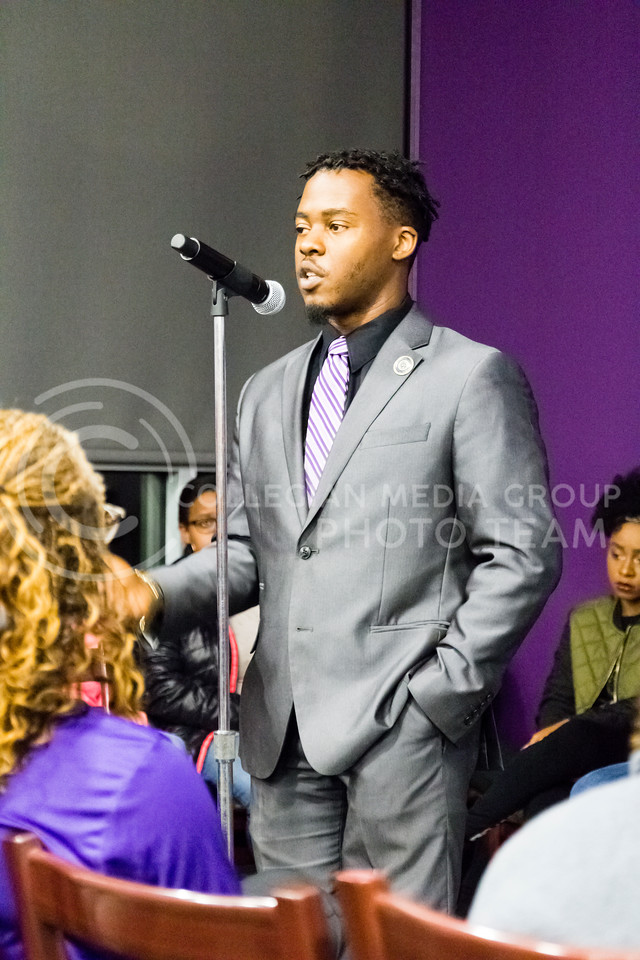 Vuna Adams III speaks during the Black Student Union's Emergency meeting to discuss how we can combat incidents of racism on campus. At the Bluemont Room of the Union on Nov. 1st, 2017. (Alex Shaw | Collegian Media Group)