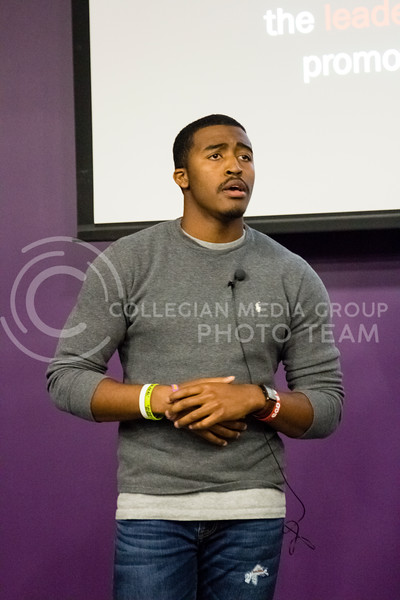 Darrell Reese Jr., president of the Black Student Union, addresses atendees at the BSU Emergency Meeting in the Bluemont Room of the Union on Nov. 1st, 2017. (Alex Shaw | Collegian Media Group)