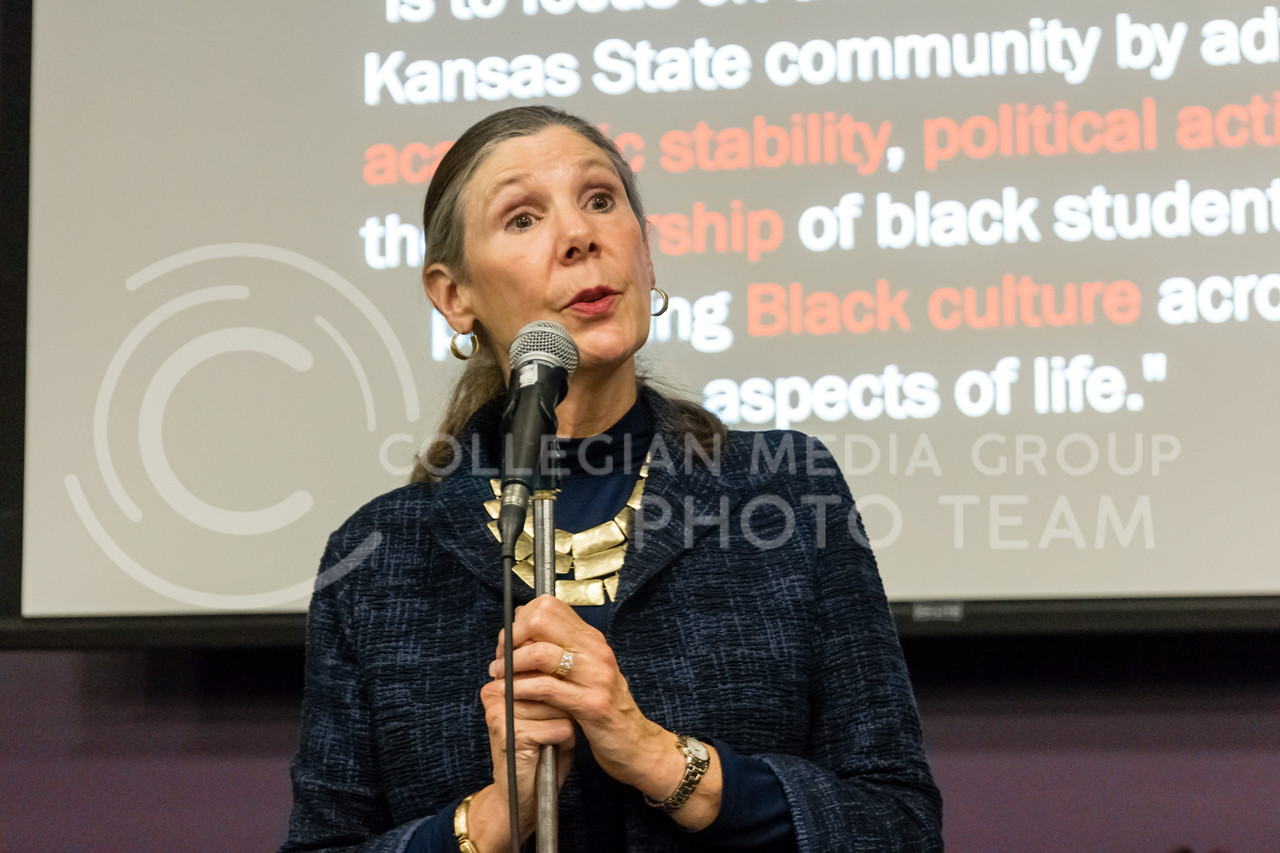 April Mason, Provost and senior vicepresident of Kansas State University speaks during the Black Student Union's Emergency meeting to discuss how we can combat incidents of racism on campus. At the Bluemont Room of the Union on Nov. 1st, 2017. (Alex Shaw | Collegian Media Group)