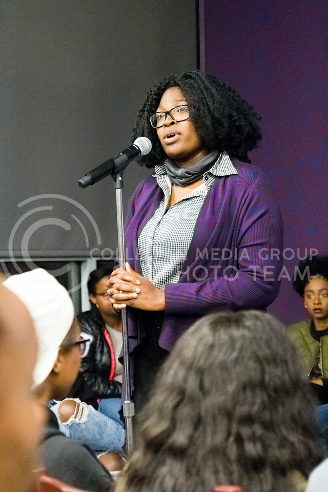 Jessica Elmore speaks during the Black Student Union's Emergency meeting to discuss how we can combat incidents of racism on campus. At the Bluemont Room of the Union on Nov. 1st, 2017. (Alex Shaw | Collegian Media Group)