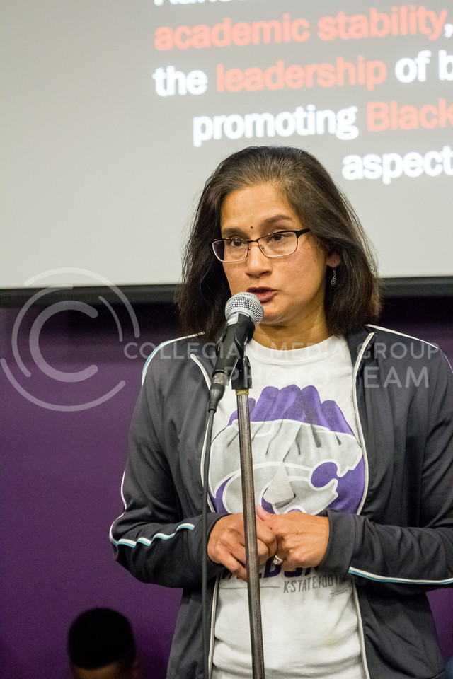 Usha Reddi, City Comissioner speaks during the Black Student Union's Emergency meeting to discuss how we can combat incidents of racism on campus. At the Bluemont Room of the Union on Nov. 1st, 2017. (Alex Shaw | Collegian Media Group)