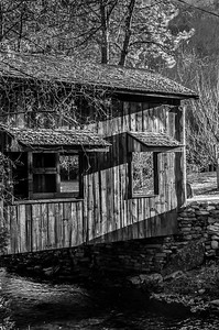 NC Covered Bridge Evening (BW)