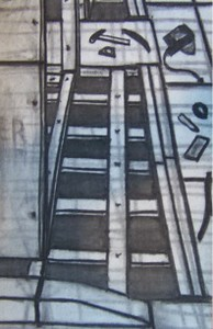 """Sidewalk Construction"" (charcoal on paper) by Joe McKenna"