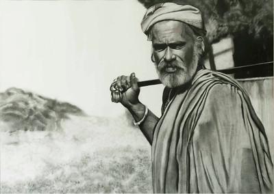 """The Shepherd"" (charcoal) by Sadhana Solanki"