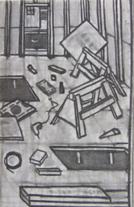 """Unfinished Floor I"" (charcoal on paper) by Joe McKenna"