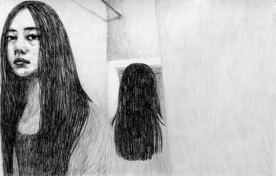 """The Beautiful Indifference"" (charcoal on paper) by Sai Li"