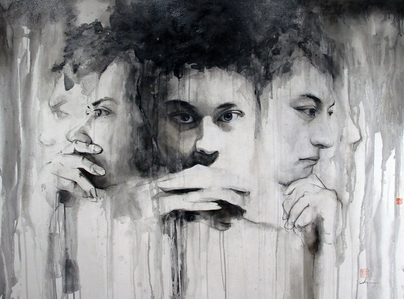 """""""Deliberator"""" (mixed media on canvas) by Chenyi Sun"""
