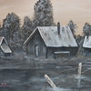 """Shacks in Sepia"" (acrylic on stretched canvas) by Kimberly Thomas"