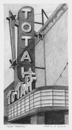 """Totah Theatre"" (graphite) by Cheryl Godin"
