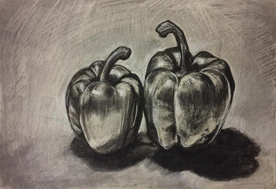 """Vegetables"" (charcoal on paper) by Yuko Kyutoku"