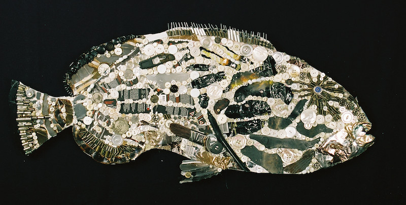 """Black Grouper"" (mixed media) by Sarah Schneiderman"
