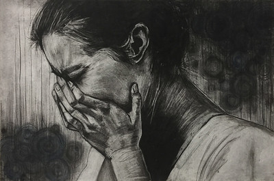"""Depression"" (charcoal and soft pastels on paper) by Yuko Kyutoku"