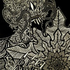 """Sachokuma"" (relief print, ink on okawara paper) byMark Curda"