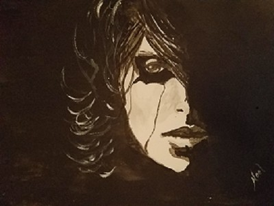 """Tears of a Clown"" (ink) by Shirley Noel"