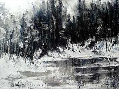 """Black-white winter"" (oil, canvas, palette knife) by Olga Kurzanova"