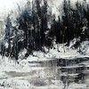 """Black-white winter"" (oil, canvas, palette knife) by Olga Kurzanova"