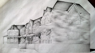 """Mansion"" (standard writing pencil on paper) by Thomas Howard"