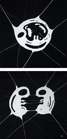 """a-chromatics diptych 2"" (diptych, black canvas, indian ink) by Natalia Kurlyandskaya"
