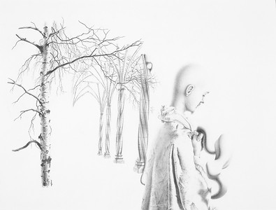 """The Temptation of St. Anthony"" (pencil) by Anton Hoeger"