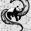 """Moon Panda"" (ink on paper) by Darya Zakharova"