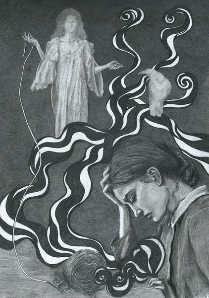 """""""Fate"""" (graphite on paper) by Daria Buniak"""
