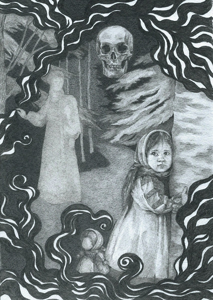 """""""Mother's blessing"""" (graphite on paper) by Daria Buniak"""