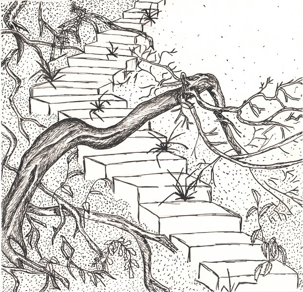 """""""Forgotten stairs"""" (ink) by Irina Selina"""