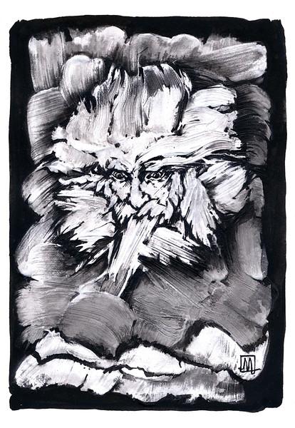 """""""The look"""" (acrylic and Chinese ink on paper) by Marina Pospelova-Ezhevskaya"""