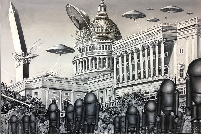 """""""Earth vs. the Flying Saucers"""" (oil on canvas) by Doug Waterfield"""