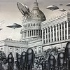 """Earth vs. the Flying Saucers"" (oil on canvas) by Doug Waterfield"